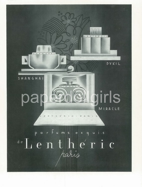 Fashion Magazine Ad, Le Miroir Du Monde, 1933, Art Deco, Lentheric, Perfume, Fashion Illustration, Paper Ephemera, Large Size Ad