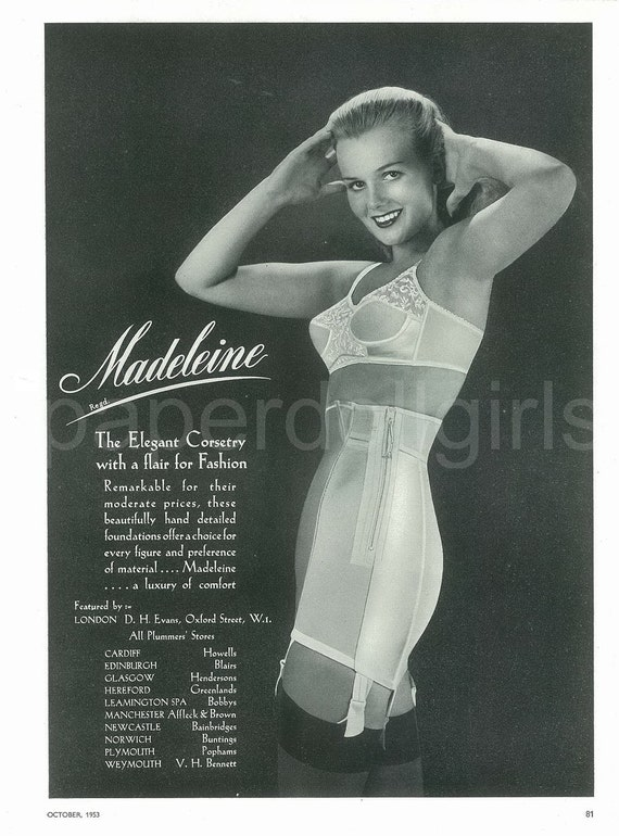 Fashion Magazine Ad Vogue Uk 1953 Madeleine Girdle Corset