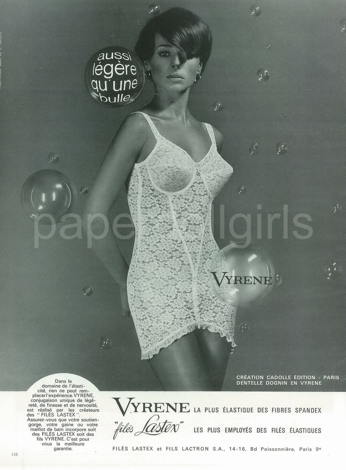 Fashion Magazine Ad 1966 French Vogue Vyrene Long Line Open