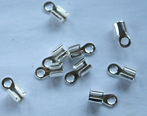 100pcs Crimp Cord Ends Tip Silver-Plated Brass 10x5x4.5mm For 3-4mm Cord