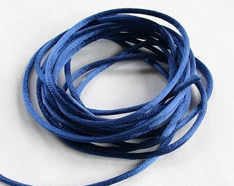 ON SALE 5 Yards Satin Cord Rattail Royal Blue 2mm Rat Tail Cord For Necklace Pendants And Bracelets