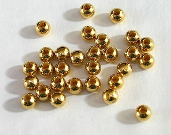 100pcs Metal Bead Gold Plated Brass Smooth Round 4mm