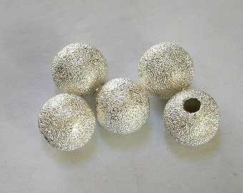 24pcs Metal Bead Silver Plated Stardust Brass Round 10mm