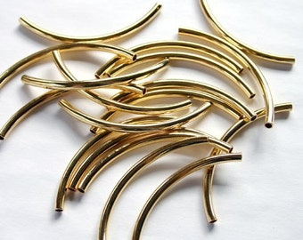 20pcs Metal Beads Gold Plated Curved Tube 50x3mm