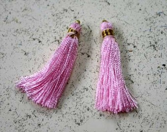 4pcs Tassel Charms Silk Imit Baby Pink Colors 2 Pair 1 3/4 inches