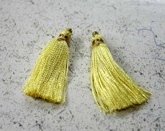 4pcs Tassel Charms Silk Imit Yellow Colors 2 Pair 1 3/4 Inches