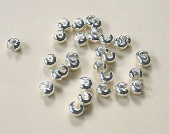 100pcs Crimp Cover  Silver-Plated Brass 5mm  Knot Covers