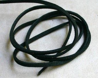 Black Faux Suede Cord Lace 3x1mm 5 Yards Vegan Leather Lacing