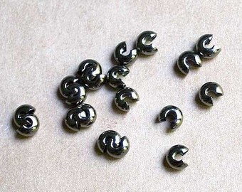 100pcs Crimp Cover 3mm Gunmetal Brass Gun Metal Black Knot Covers