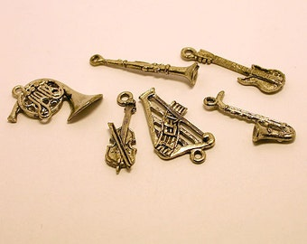 Charms Set Music Antiqued Silver Pewter Music Note Instruments Guitar