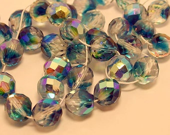 50pcs Fire-Polished 2-Tone Crystal/Aqua AB 8mm Bead Czech Glass Faceted Round