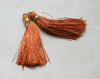 4pcs Tassel Charms Silk Imit Only Brown Colors 2 Pair 1 3/4 Inches