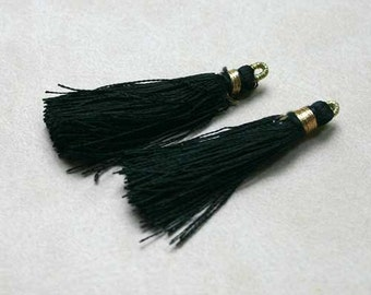 4pcs Tassel Charms Silk Imitation Only Black Colors 2 Pair 1 3/4 Inches