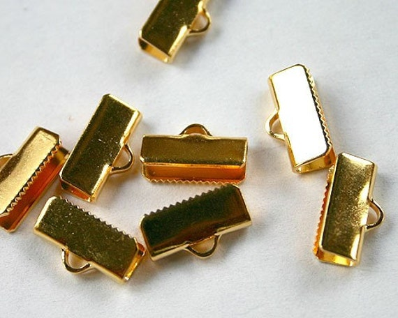 10pcs Clamps Crimp Ribbon End Gold-Plated Brass Smooth Finish 16x5mm