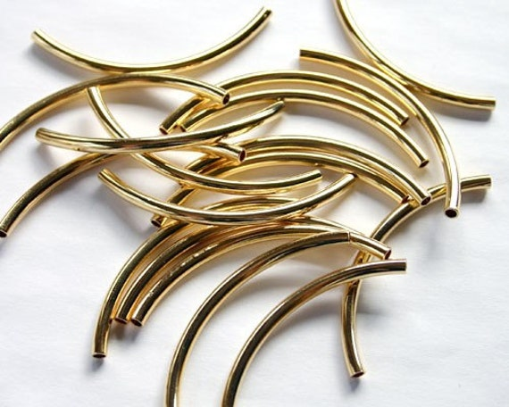 Pcs metal beads gold plated curved tube mm