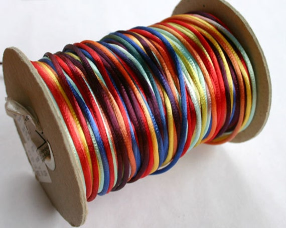 2mm Satin Cord Multicolored Bright Rainbow 400-foot spool