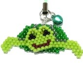 Swimming Green Sea Turtle Beaded Charm on Phone Strap
