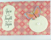 Handmade Greeting Card Praying for You - Sweet Pink Butterfly, Pearly Accent, Embossed