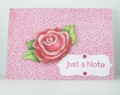 Handmade Card - Thinking of You, Just a Note - Rose and Gems on Pink Dots