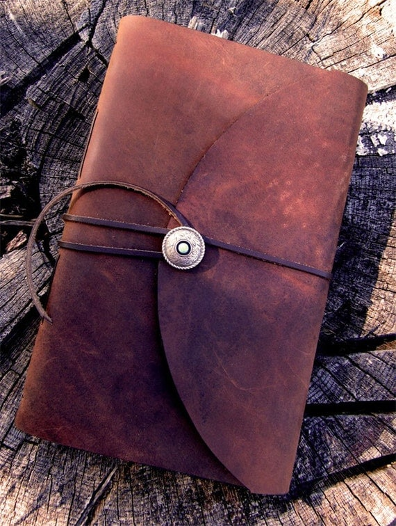 Handmade Leather Book with Turquoise and Silver Concho