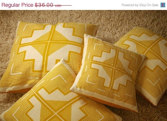 SALE - 13x13 - native quilt pillow - maize / dijon yellow