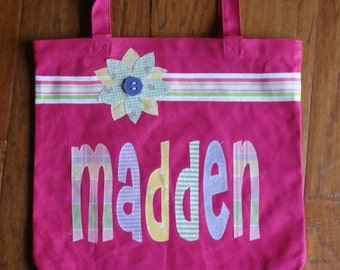 Large Personalized Tote with Ribbon & Flower Applique