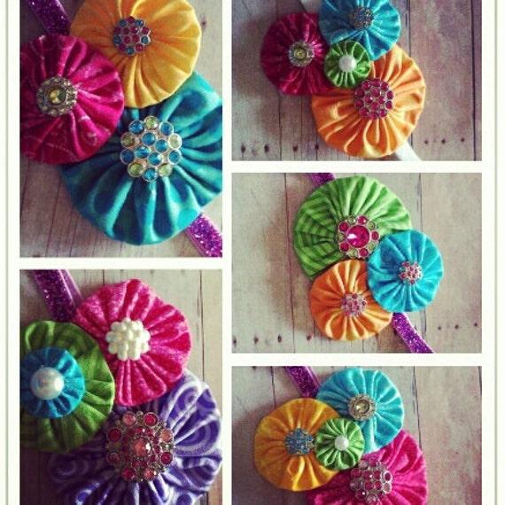 Neon YoYo Flower Headband Bright Summer Colors