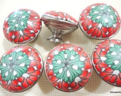 Last 8 Cabinet Knobs / Pulls       Shades of Tangerine and Green     Polymer Clay over  Metal Knob