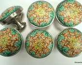 SIX  Cabinet Knobs / Pulls       Shades of Lemon ,Tangerine and Mint   set of 6