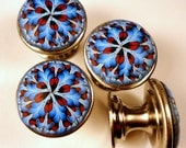 6 Cabinet Knobs /   Blue and Red  Clay over Metal