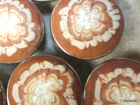 Cabinet Knobs/Pulls   SET of SIX   Polymer Clay over metal  Faux Agate   Ready to Ship