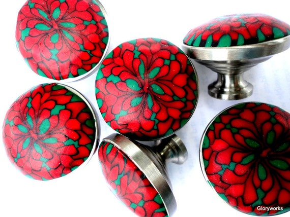 FOR CANDACE 25  Dark Red Cabinet Knobs   Clay and Brushed Nickel