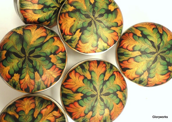 SIX Jungle Colors Cabinet Knobs /   Copper, gold, moss green