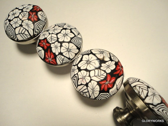 Cabinet Knobs/Pulls  SET of SIX    Polymer Clay     Wonderful Black and White Polymer Clay