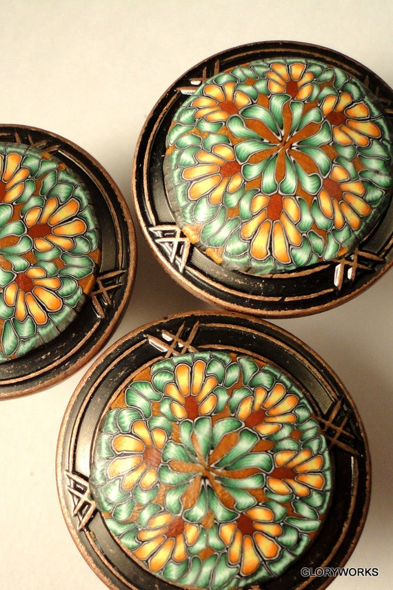 FOR DANIELLE   24  Large 1 1/2 Inch Diameter    Mustard/Teal Green     Order what you need