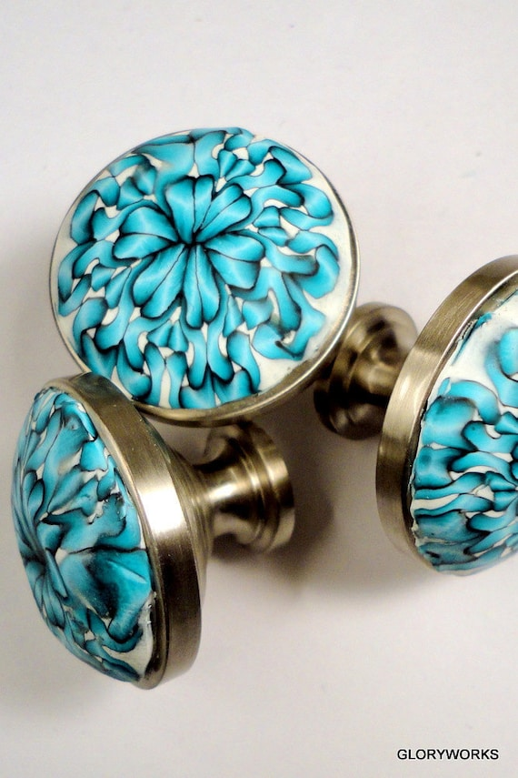 Items similar to cabinet knobs metal and polymer clay for Turquoise cabinet pulls