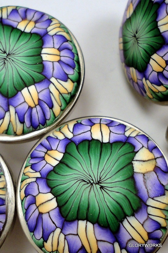Cabinet Knobs-Pulls  unique handmade decorative cabinet knobs Polymer Clay Metal base. Purple, Maize,& Green