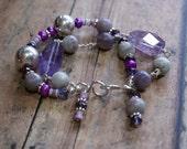 A Purple Peace Bracelet - Amethyst, Lepidolite, FW Pearl and Sterling Silver Bracelet