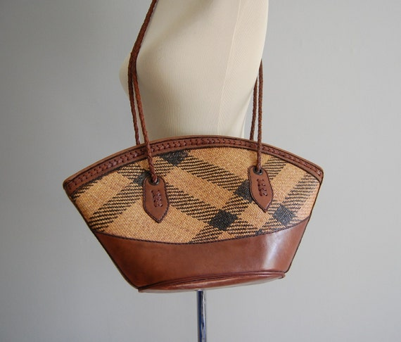 BOHO wicker straw and leather weekender tote