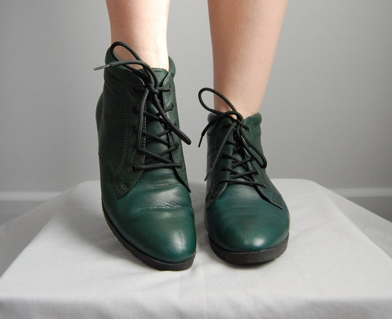 vintage PINE GREEN Danexx ankle boots 8 by adriancompany on Etsy