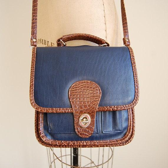 80s ROAYL BLUE vegan top handle satchel