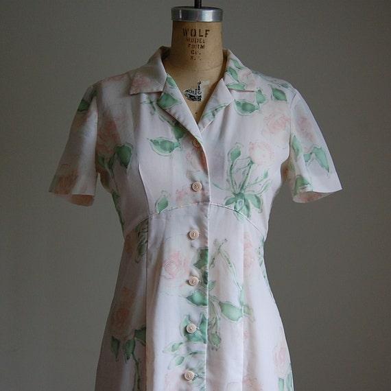1980s TEA ROSES maxi day dress M