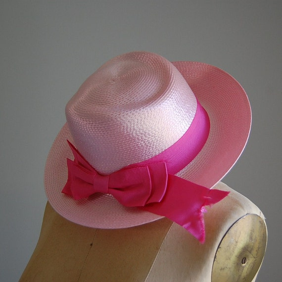 1970s COTTON CANDY straw fedora with pink bow