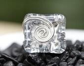 Diamonte Button Ring