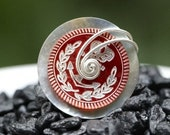 Nautical Red Shell Button Ring
