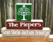 Wooden Family Name Blocks, Personalized