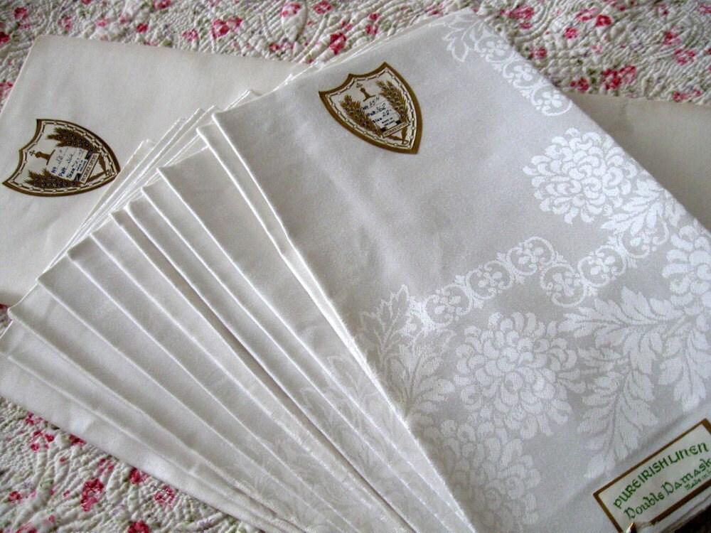 Antique Irish Linen Tablecloth 12 Napkins Double Damask