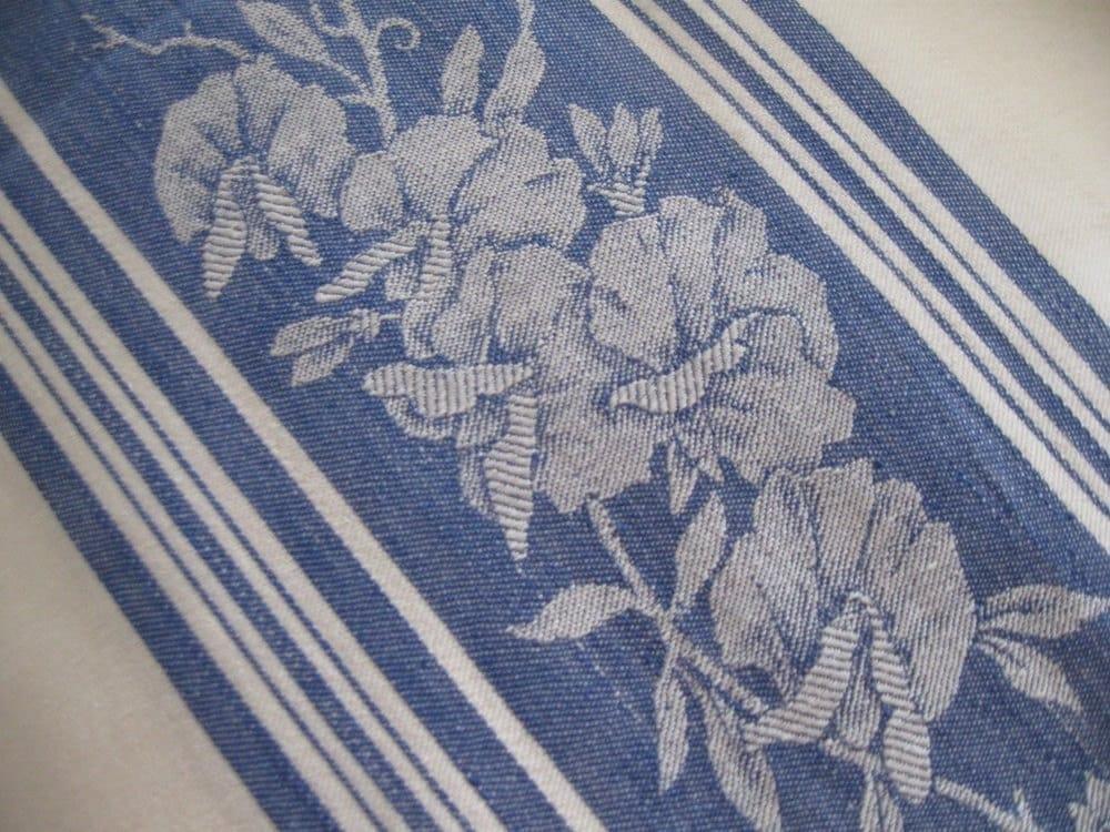 Vintage Damask Tablecloth Fabric Jacquard Floral Blue White