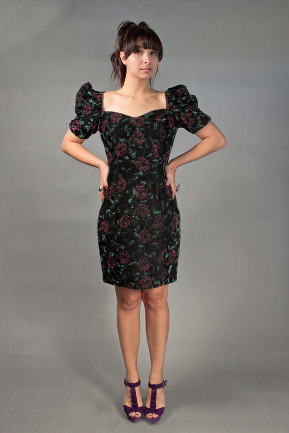 SALE Vintage 80s New Wave VELVET Floral Cocktail Dress with Heart Shaped Chest