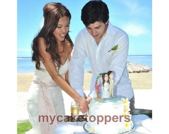 Cake toppers beach sence birde and groom
